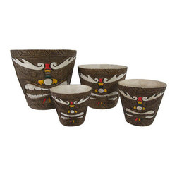Set of 4 Friki Tiki Painted Nesting Planters Makaha Style - This set of planters is a great way to dress up your tropical plants, indoors and out! The largest pot is 8 inches in diameter, 7 3/4 inches tall, 1/2 inch thick, the 6 inch pot is 5 3/4 inches tall, 1/4 inch thick, the 4 inch pot is 4 1/4 inches tall, 1/8 inch thick, and the smallest pot is 3 1/2 inches in diameter, 3 3/4 inches tall, and 1/8 of an inch thick. Each one is made of cold cast resin, and textured to look as though they are carved from wood. They feature Makaha style tiki faces with hand painted accents in white, red, yellow, and green. They are a cool accent to porches and patios, and are a must-have for tiki bars!