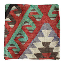 Original Hand Woven Turkish Kilim - Subtle Antique Kilim Pillow Cover - Hand Woven from an Antique Turkish Kilim Carpet, this pillow cover has a Wool front and cotton back with Zipper entry.  Please note:  pillow insert not included.