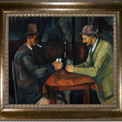 "overstockArt.com - Cezanne - Card Players with Pipes Oil Painting - 20"" x 24"" Oil Painting On Canvas Hand painted oil reproduction of a famous Cezanne painting, Card Players with Pipes. Today it has been carefully recreated detail by detail, color by color to near perfection. This old west style painting with cowboy gentleman card players is sure to be the right move for a real man's man. Paul Cezanne is identified today as the most dominant influence in the abstraction of modern art. Cezanne drew influence from Pissarro and Manet early in his career. As he matured, Cezanne mostly portrayed still lifes in his art and has greatly influenced Cubism, a form of painting. This work of art has the same emotions and beauty as the original. Why not grace your home with this reproduced masterpiece? It is sure to bring many admirers!"