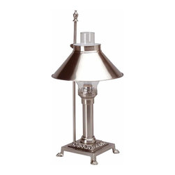 Renovators Supply - Table Lamps Silvertone Brass Table Lamp 20 H x 6 3/4 sq. base | 19788 - Table Lamp. This solid brass reproduction titanic lamp invokes elegance of an era. It has a hurricane globe Silvertone shade. The table lamp measures 20 in. high with a 6 3/4 in. square base. (Shown in Brass).
