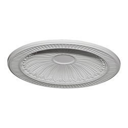 "Ekena Millwork - Devon Recessed Mount Ceiling Dome (31""Diameter x 2 1/2""D Rough Opening) - 35 3/8""OD x 27 1/2""ID x 3 1/4""D Devon Recessed Mount Ceiling Dome (31""Diameter x 2 1/2""D Rough Opening). Urethane ceiling domes enhance interiors with rich texture and traditional appeal. Many of our urethane ceiling domes include classic decorative details, ranging from floral motifs to crisp moulding. Whether you seek something subtle or ornate, we have a urethane ceiling dome for you. Each ceiling dome is factory primed and ready for your paint or faux finish. Each dome is manufactured out of a high density urethane foam, which is great for durability, but is also lighter than other materials to make installation a snap. Enhance your room with a beautiful ceiling dome focal piece."