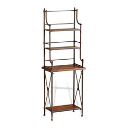 Kathy Kuo Home - Sydney Industrial Loft Rustic Farmhouse Metal Wood Baker's Rack - Probably the most beautiful baker's rack ever in the history of baking, the Sydney need not be confined to the kitchen.  Home offices, libraries, dining rooms and bedrooms will all benefit from the elegant iron and chestnut finished wood.