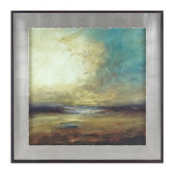 Uttermost - New Land Framed Art - This dynamic oil painting has the power to inspire in your favorite setting. A silver-finished frame plays beautifully against the rich tones of the painting to enhance the drama in your decor.