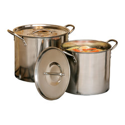 Cookpro - Stainless Steel Stockpots, Set of 2 - Calling all culinary multitaskers: Now you can prepare two dishes at once with this set of two stainless steel stockpots. They're perfect for preparing a wide variety of dishes, and they're easy to clean, too.