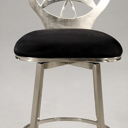 "Chintaly Imports - Laser Cut Round Back Memory Swivel Bar Stool in Brushed Nickel plated - Striking design in this laser cut brushed nickel plated stool with Black microfiber cushioned seat. It is available in Bar or Counter height.; Black Microfiber cushion; Brushed nickel plated finish; Laser Cut Round Back; Memory Swivel; Dimensions:22""W x 18.03""D x 46.5""H"