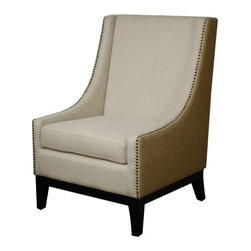 NPD (New Pacific Direct) Furniture - Harrison Chair by NPD Furniture, Sand/Burlap Fabric - This stylish Harrison chair in fabric or bonded leather upholstery with wooden legs will be a great addition to your living area.
