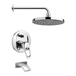 Remer - Sleek Modern Chrome Tub and Rain Shower Faucet Set - Single function tub and shower faucet.