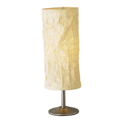 """Adesso - Zone Lamp, Table Lamp - Black walnut open box frame with a collapsible rectangular natural silk shade. Bottom and two additional shelves provide three storage/display spaces. Pull-chain switch. 150 Watt. 10.25"""" Square x 63"""" Height. Shade - 8.5"""" Square x 14.5"""" Height."""