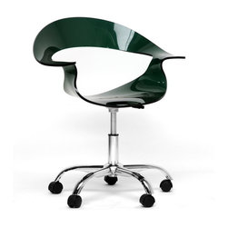 "Baxton Studio - Baxton Studio Elia Dark Acrylic Modern Swivel Chair - For those looking for an ultra-modern office chair or modern dining chair, this design will not disappoint.  Starring features include a transparent acrylic seat with a steel gray/deep green tint, 360 degree swivel, and adjustable height.  The 5-wheeled base is constructed from steel with a high-shine chrome finish.  To clean, wipe with a damp cloth.  Made in China; assembly is required.  This style is also available in transparent clear (sold separately). 27.5""Wx 19.25""D x 29.5""H, seat dimenison:18""W x 16""D x (15.125""-18.875"")H, arms height:22.75""-26"""