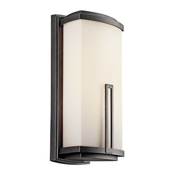 Kichler - Kichler Leeds Outdoor Wall Mount Light Fixture in Anvil Iron - Shown in picture: Kichler Outdoor Wall 2Lt Fluorescent in Anvil Iron