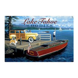 Past Time Signs - Lake Tahoe Woodies Tin Sign 36 x 24 Inches - - Width: 36 Inches