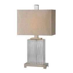 Ren-Wil - Lamp - A ribbed glass body sits on a satin nickel base and is finished with a grey linen shade and matching satin nickel finial.