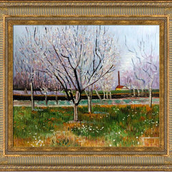 "overstockArt.com - Van Gogh - Orchard In Blossom (Plum Trees) - 20"" X 24"" Oil Painting On Canvas Hand painted oil reproduction of one of the most famous Van Gogh paintings, Orchard in Blossom (Plum Trees). The original masterpiece was created in 1888. Today it has been carefully recreated detail-by-detail, color-by-color to near perfection. Why settle for a print when you can add sophistication to your rooms with a beautiful fine gallery reproduction oil painting? Vincent Van Gogh's restless spirit and depressive mental state fired his artistic work with great joy and, sadly, equally great despair. Known as a prolific Post-Impressionist, he produced many paintings that were heavily biographical. This work of art has the same emotions and beauty as the original by Van Gogh. Why not grace your home with this reproduced masterpiece? It is sure to bring many admirers!"