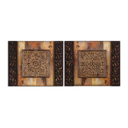 Uttermost - Ornamentational Block Art Set of 2 - Accent your decor with old-world ornamentation. This set of three-dimensional metal medallions, aged to perfection, makes a striking statement in a powder room, hall or entryway.