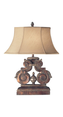 Fine Art Lamps - Stile Bellagio Table Lamp, 828510ST - Add an exotic touch to your living room or den with this handsome table lamp. The richly detailed base is finished in a tortoised leather crackle and highlighted with stained silver leaf. The flared shade is hand-sewn from silk shantung.
