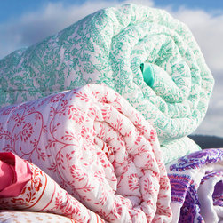 Indian Bedspreads and Quilts - Bring one of our bright and adorable quilts home today and start writing a beautiful history of your own. Hand Block Printed from Attiser