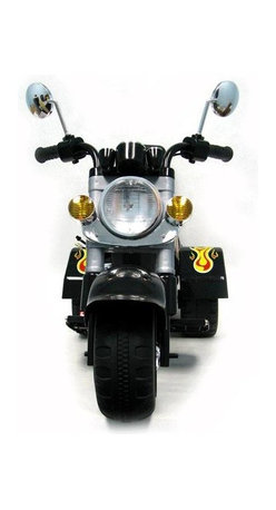 Trademark Global - Motorcycle Style Children's Battery Operated - Battery operated motorcycle. Easy to put together. Comes with battery and charger. Sharp Colorful Decorations. Chrome colored highlights. Motor: 18 w. Battery: 6v 4 ah. Speed: 3 mph. Recommended for ages: 2-4 years old. Size: 38 in. x 19 in. x 30 in. With its ultimate Motorcycle like style, chrome color highlights and Harley styling, kids can experience the excitement of Motorcycle riding in their own driveway with this Power Ride-On Car Harley style street cruiser Vehicle! Give your kid the chance to be like Dad, also to be the envy of every kid on the block. It will bring excitement to every kids play time, while taking kids on a thrilling adventure!. It has a button for a starting sound and a button for a horn. The headlight and tail light light up when you press the gas pedal. Also goes in reverse.