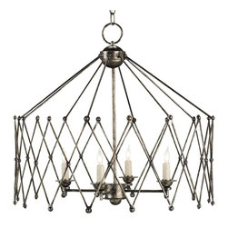 Currey and Company - Accordion Chandelier - Light up your dining table with this stylish chandelier finished in antiqued silver. With a hint of old-world allure, an accordion-like wrought iron frame beautifully wraps around four candelabra bulbs that brighten your space with their unique illumination.
