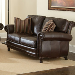 Steve Silver Furniture - Steve Silver Chateau Loveseat in Antique Chocolate Brown Leather - The Chateau Collection will add style and traditional sophistication to any home.  The collection features a beautiful hand rubbed and finished semi- aniline leather that will provide years of beauty and comfort.  The entire collection has hand sewn double stitched seams for added style and wear.  It features a hand crafted frame for added style and grace.  The back rail of the Chateau is fully padded and expertly tailored adding to the style and look of each piece.  The legs of the Chateau are hand finished to a rich coffee brown which complements the overall look and style of the group. - CH860L.  Product features: 100% top grain leather on all seating areas with leather splits on outside back and arms; Antique Chocolate Brown Leather w/ Antique Brass Nailheads; Seating features 2.0 High Density Foam with 8-way hand tied pocketed coils surrounded by a feather/fiber blend topper.; Correlating 100% Down Filled Accent Pillows; 100% Solid wood hand finished accent legs; Removable Seat Cushions; Hardwood Frame. Product includes: Loveseat (1). Loveseat in Antique Chocolate Brown Leather belongs to Chateau Collection by Steve Silver.
