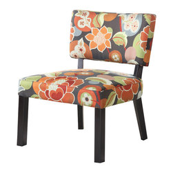 Powell - Powell Bright Floral Print Accent Chair - Color and pattern are fused together in this stylish accent chair. Featuring an armless design, chunky squared legs and a bright floral print, this would be the perfect finishing touch to any room. Fully assembled.