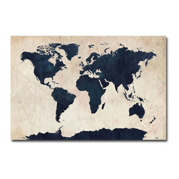 Trademark Fine Art World Map, Navy - This canvas world map (colored in navy) by artist Michael Tompsett would be a great addition to any room, especially an office, study or desk area.