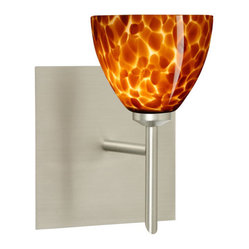 Divi Satin Nickel One-Light Halogen Square Canopy Wall Sconce with Amber Cloud G