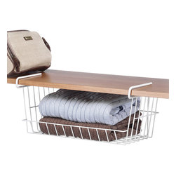Whitmor - White Under-the-Shelf Basket - Clever and convenient, this unique basket offers an impressive way to utilize under-used space. With a durable, metal construction, it attaches to almost any shelf.   16'' W x 7'' H x 10'' D Resin / metal Imported