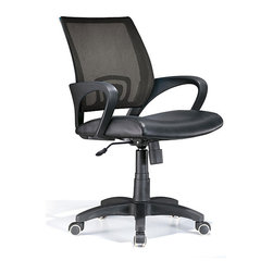 LumiSource - Leatherette Black Office Chair - The contemporary styling and comfortable feel of this Officer chair make this an excellent addition to your home or office.