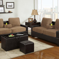 Saddle Microfiber Leather Sofa Couch Loveseat Center Console Cup Hold - A revolutionary piece of furniture perfect for lounging and entertaining, this cozy sofa loveseat comes adorned in microfiber and framed in smooth faux leather or completely covered in faux leather. It features a center console with two cup holders that is easily concealed.