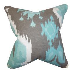 The Pillow Collection - Djuna Ikat Pillow Blue Gray - Mix an eclectic vibe to your home with this unique toss pillow. This throw pillow features an ikat-inspired pattern in shades of blue, gray and white. Toss this decor piece anywhere inside your living space where it needs texture and extra comfort. Made with a blend of 55% cotton and 45% linen fabric. Hidden zipper closure for easy cover removal.  Knife edge finish on all four sides.  Reversible pillow with the same fabric on the back side.  Spot cleaning suggested.