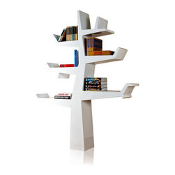 Inova Team -Modern Bookcase, White - This modern bookcase holds books, objects and souvenirs in an unusual, simplified tree shape.