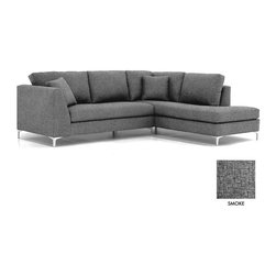 Apt2B - Mulholland 2PC Sectional Sofa, Smoke, Chaise on Left - Classic and cozy with a modern twist. The clean lines of the Mullholland Collection will show off your chic style without taking center stage. Dress it up with a few toss pillows or a retro lamp, and watch your space come together.