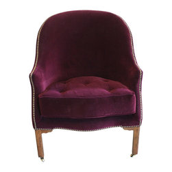 Who Knew Private Label - Velvet Chair - Upholstered in crimson berry velvet with a tufted seat cushion, with legs finished in antique chestnut on antique brass casters.