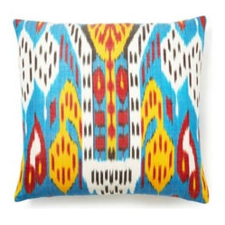 5 Surry Lane - Turquoise Blue Multi Silk Ikat Pillow - Get a little wild with this exciting turquoise ikat pillow. Its energetic pattern and lively colors will breathe new life into your room whether you use it to accent your bed, couch or armchair.