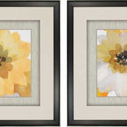 Paragon Decor - Ginger Gold Set of 2 Artwork - Prints are raised mounted with hand painted silver bevels with hand applied decorative paper.