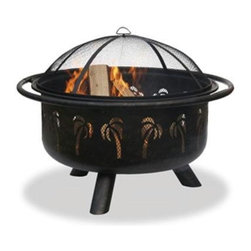 "Blue Rhino - Oil Rubbed Bronze Fire Bowl 32"" - Uniflame 32"" Oil Rubbed Bronze FireBowl w/ Palm Tree Design"