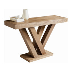 "Sunpan Modern - Madero Console Table - Features: -Material: Ash and Ash veneer.-Inspired by groups of tree trunks sprouting from the earth.-Gives the table an almost organic look while the clean lines remain very modern.-Please note that although every attempt has been made to ensure accuracy, all dimensions are approximate and colors may vary slightly.-Madero collection.-Collection: Madero.-Distressed: No.Dimensions: -Overall Height - Top to Bottom: 29.5"".-Overall Width - Side to Side: 47.25"".-Overall Depth - Front to Back: 15.75"".-Table Top Thickness: 3"".-Table Top Width - Side to Side: 47.25"".-Table Top Depth - Front to Back: 15.75"".-Legs: Yes.-Overall Product Weight: 81 lbs.Warranty: -This item is deemed acceptable for both residential and nonresidential environments such as restaurants, hotels, lounges, offices and reception areas. Please note that this item carries the manufacturer's standard one year warranty from the date of purchase. ."