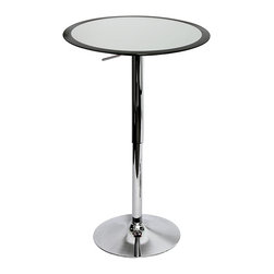 None - Ribbon Black Adjustable Hydraulic Bar Table - This elegant bar table features a black and silver color scheme with a silver chrome hardware finish. This bar table also spotlights an adjustable hydraulic design and a metal frame with an ABS table top.