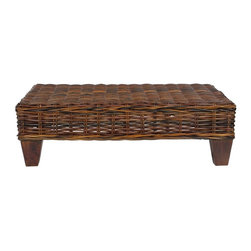 Safavieh - Safavieh Leary Bench X-C8256XOF - Create an instant indoor oasis with the rattan Leary Bench. The richly colored Mango Wood legs are the perfect modern foundation for its dark croco-toned woven top. Ideal for extra seating, a place to set a drink or a tray with all your treasures, it offers a moment of easy elegance in any room.