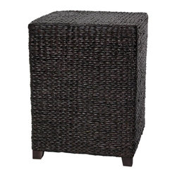 Oriental Furniture - Rush Grass Square Coffee Table - Black - Lightweight, practical rattan style end table/nightstand. Well crafted kiln dried wood frame, lightweight and sturdy, with a smooth 'V' woven rush grass surface.
