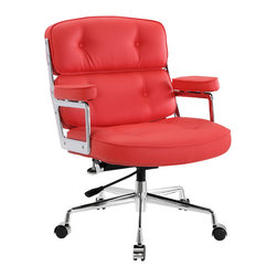 """LexMod - Remix Office Chair in Red - Remix Office Chair in Red - Jam to a different beat with the Remix office chair. Lavishly upholstered in padded vinyl, the chair is striking both in presentation and comfort. Perhaps most noticeable of all are the generously padded armrests. Most competing chairs make do with a thin semblance of softness--not so with Remix. The chair beckons you to sit and enjoy your time there thoroughly. The frame is constructed of high-polished aluminum and is fitted with a hooded base with five dual-wheel casters. Fully height adjustable with 360 degree swivel, this high back chair also works well for most heights and builds. Set Includes: One - Remix Deluxe Vinyl Executive Office Chair Lavish highback office chair, Padded vinyl seat back and arms, Fully height adjustable, 360 degree swivel, Hooded five-caster base, Polished aluminum frame, Assembly required Overall Product Dimensions: 26""""L x 22""""W x 34.5 - 37.5""""H Seat Dimensions: 22""""L x 22""""W x 18 - 20.5""""HBACKrest Height: 16 - 19.5""""H Armrest Dimensions: 2""""W x 23.5 - 27""""HBACKrest Dimensions: 4""""W x 20""""H Armrest Height: 6.5""""H Cushion Thickness: 4""""Hbrase Dimensions: 22""""L x 26.5""""W - Mid Century Modern Furniture."""