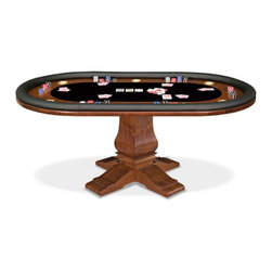 "California House - berkeley 96-in texas holdem table - These solid hardwood tables are custom-crafted in the US in maple with your choice of four wood finishes and four felt colors. Choose from Berkeley, Claridge, Robie or Taliesin base styles. All tables available in 42"", 48"", 54"", 60"",  and 66"", diameter. The gaming top reverses to a dining top to extend the utility of your table for everyday use."