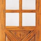 """Single Door, Exterior, Knotty Alder 6-Lite 4-Panel, Southwest Home - SKU#SW-89_1BrandAAWDoor TypeExteriorManufacturer CollectionWestern-Santa Fe Entry DoorsDoor ModelDoor MaterialWoodWoodgrainKnotty AlderVeneerPrice860Door Size Options30"""" x 80"""" (2'-6"""" x 6'-8"""")  $032"""" x 80"""" (2'-8"""" x 6'-8"""")  $036"""" x 80"""" (3'-0"""" x 6'-8"""")  +$1042"""" x 80"""" (3'-6"""" x 6'-8"""")  +$10036"""" x 84"""" (3'-0"""" x 7'-0"""")  +$11030"""" x 96"""" (2'-6"""" x 8'-0"""")  +$11032"""" x 96"""" (2'-8"""" x 8'-0"""")  +$11036"""" x 96"""" (3'-0"""" x 8'-0"""")  +$11042"""" x 96"""" (3'-6"""" x 8'-0"""")  +$110Core TypeSolidDoor StyleCrossbuck , RusticDoor Lite Style6 LiteDoor Panel Style4 PanelHome Style MatchingSouthwest , Log , Pueblo , WesternDoor ConstructionTrue Stile and RailPrehanging OptionsPrehung , SlabPrehung ConfigurationSingle DoorDoor Thickness (Inches)1.75Glass Thickness (Inches)1/4Glass TypeSingle GlazedGlass CamingGlass FeaturesGlass StyleGlass TextureClearGlass ObscurityDoor FeaturesDoor ApprovalsDoor FinishesDoor AccessoriesWeight (lbs)340Crating Size25"""" (w)x 108"""" (l)x 52"""" (h)Lead TimeSlab Doors: 7 daysPrehung:14 daysPrefinished, PreHung:21 daysWarranty1 Year Limited Manufacturer WarrantyHere you can download warranty PDF document."""