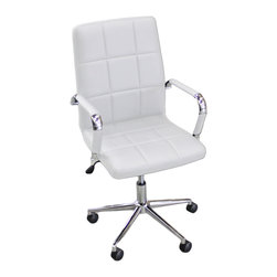 JR Home Products Ltd. - Checkered Faux Leather Office Chair, Brilliant White - Inspired by European designs, the Checker Office Chair offers chic urban style for today's office needs. The clean lines and sleek shape of these chairs allow them to be effortlessly incorporated into any design aesthetic. These chairs offer ultimate comfort with adjustable height and tilt mechanisms. Used with or without arms, these chairs are a favorite among students and professionals alike.