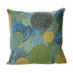 """Trans-Ocean Inc - Graffiti Swirl Cool 20"""" Square Indoor Outdoor Pillow - The highly detailed painterly effect is achieved by Liora Mannes patented Lamontage process which combines hand crafted art with cutting edge technology. These pillows are made with 100% polyester microfiber for an extra soft hand, and a 100% Polyester Insert. Liora Manne's pillows are suitable for Indoors or Outdoors, are antimicrobial, have a removable cover with a zipper closure for easy-care, and are handwashable.; Material: 100% Polyester; Primary Color: Blue;  Secondary Colors: green, white, yellow; Pattern: Graffiti Swirl; Dimensions: 20 inches length x 20 inches width; Construction: Hand Made; Care Instructions: Hand wash with mild detergent. Air dry flat. Do not use a hard bristle brush."""