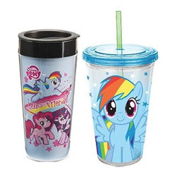 "KOOLEKOO - My Little Pony Travel Mug set - The My Little Pony Friendship is Magic Plastic Travel Mug and 18 oz. Acrylic Travel Cup Set includes a plastic travel mug featuring Rainbow Dash, Pinkie Pie, and Twilight Sparkle with the words ""Hello friends"" that holds up to 16 ounces of liquid. Plus, an acrylic travel cup complete with sturdy lid and straw is included that holds up to 16 ounces of liquid and shows an image of Rainbow Dash."