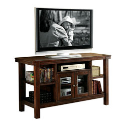 Riverside Furniture - Riverside Furniture Castlewood Console Table/TV Stand in Warm Tobacco - Riverside Furniture - TV Stands - 33515 -  Riverside's products are designed and constructed for use in the home and are generally not intended for rental commercial institutional or other applications not considered to be household usage.Riverside uses furniture construction techniques and select materials to provide quality durability and value in our products and allows us to meet the wide range of design and budget requirements of our customers. The construction of our core product line consists of a combination of cabinetmaker hardwood solids and hand-selected veneers applied over medium density fiberboard (MDF) and particle board. MDF and particle board are used in quality furniture for surfaces that require stability against the varying environmental conditions in modern homes. The use of these materials allows Riverside to design heirloom quality furnishings that are not only beautiful but will increase in value through the years.