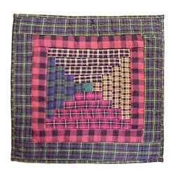 Patch Magic - Tartan Log Cabin Toss Pillow - 16 in. W x 16 in. L. 100% Cotton. Machine washable.. Line or flat dry onlyDecorative applique Quilted Pillow.
