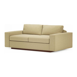 "True Modern - Jackson Love SOFA - Toast - The Jackson 70"" Loveseat is the right place to curl up and watch your favorite show. This cozy and plush sofa has oversized seating, with arms and pillows that make it the ultimate lounger, but the clean design still keeps it modern and hip. The seat cushions are wrapped in down and the back pillows are stuffed with luxurious blend of feather and down as well. Our exclusive baffled system helps keep the feathers in place so you won't need to constantly fluff the pillows. The wooden base is hidden so the sofa really appears to be floating on air. The low slanted back let's you lay back, stretch out and relax. Add an ottoman and really kick back!  Its polyester woven fabric is durable and soft with a great multi tone texture."