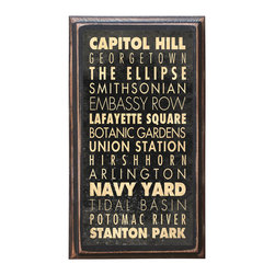 "CrestField - Washington, DC Points of Interest Decorative Vintage Style Wall Plaque / Sign - This vintage style wall plaque is hand made to commemorate the points of interest in Washington, DC. The pine board has a quarter round routed edge and is sized at 7.25"" x 13"" x .75"". The surface is finished with my ""flatter than satin"" poly finish with a saw tooth hanger on the back. Would look great in any decoration project, home or office."